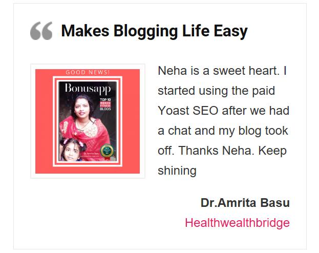 Blogging made easier Testimonial