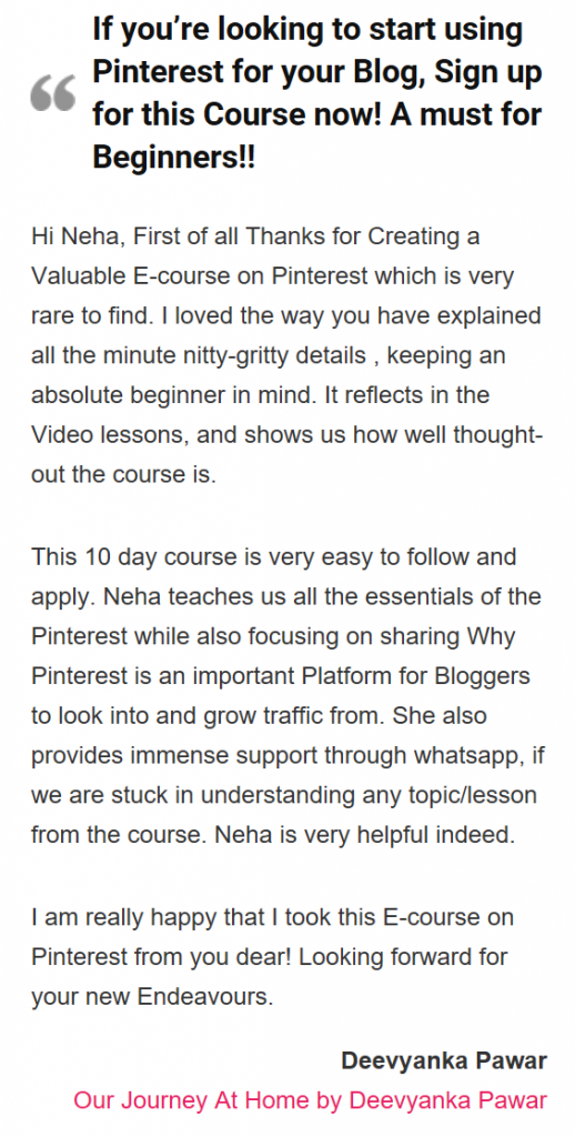 Blogging made easier Testimonial
